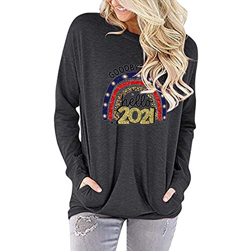 Masrin Mask T-shirt pour femme - Mode sur revoie 2020 - Hallo 2021 - Lettre imprimée - Pull col rond à manches longues - Pull ample (M, gris)
