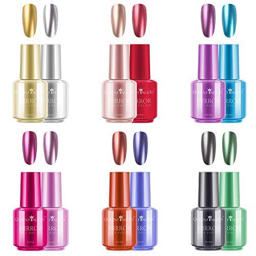 Ownest - Esmalte de uñas metálico de 12 colores, efecto de espejo brillante magnífico de larga duración Kit de esmalte de uñas cromado-12 piezas
