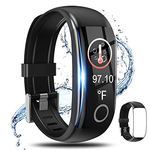 Fitness Tracker,Smart Watch with Body Temperature Thermometer Heart Rate Blood Pressure Monitor...