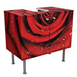 Waschbeckenunterschrank Rote Rose mit Wassertropfen 60x55x35cm, schmal, 60cm breit, höhenverstellbar, Design Waschbeckenschrank, Waschtisch, Waschtischunterschrank, Badschrank, Größe: 55cm x 60cm