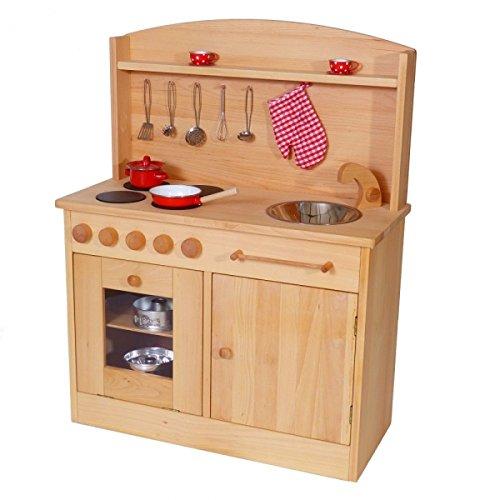 Massivholz-Kinderküche 2024N Natur-Spielzeug-Küche - Herd - Spüle - Backofen