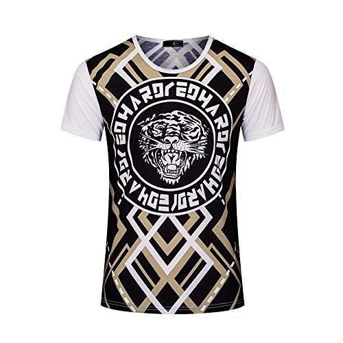 Heren Compressie Shirt geMercerized Katoen Persoonlijkheid afdrukken Short-Sleeved T-Shirt Grote Maat Heren Tijger Patroon Etnische Stijl