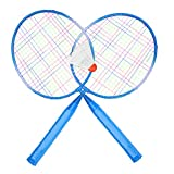 Badminton Racket, 2 Colors Badminton Racket Set or Durable Nylon Alloy Badminton Racket Racquet Good for Beginner, Intermediate and Elite Players, Kids Children Training Practice(Blue)