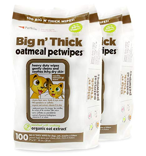 Petkin Pet Wipes – Big 'n Thick Extra Large Oatmeal Pet...
