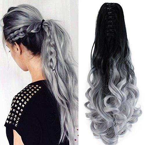 Neverland Beauty Clip Extensions de cheveux Claw on queue de cheval longue ondulee Ombre Dip Dye Naturel Noir a Argent Gris