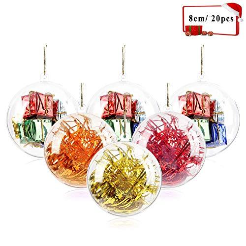 Jangostor 20 Piezas Bolas de Navidad, 80 mm Bola de Adornos navideños, Decoraciones de Navidad rellenables de plástico DIY Bolas de árbol Bolas artesanales Bola Transparente