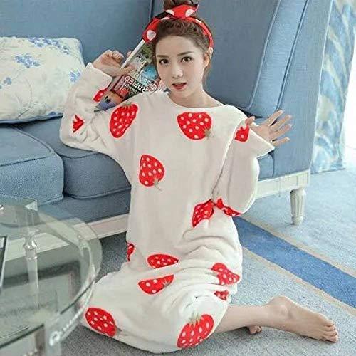 HUANSUN Camisón de Invierno para Mujer, camisón de Franela cálido Grueso, Ropa de Dormir de Manga Larga para Mujer, Ropa de Dormir de Talla Grande para Mujer, Color3, XL