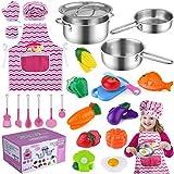 TEPSMIGO Kids Kitchen Pretend Play Toys, Kitchen Playset Cooking Toys Set with Stainless Steel...