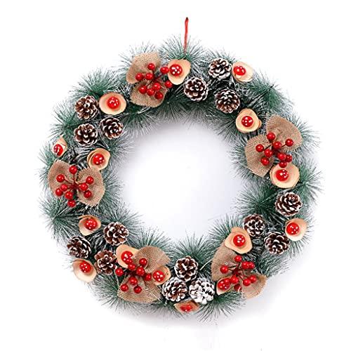 bjyx Aguja de Pino Guirnalda de Navidad con Copos de Nieve y Corona de Cono de Pino Adecuado for Decoraciones de Vacaciones(Tamaño:30/40/50 cm) (tamaño : 40cm)