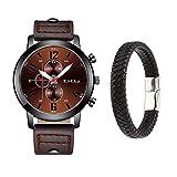 Souarts Homme Montre Bracelet Quartz Analog Cadran Rond Business Sangle en Cuir PU Cadeaux (2pcs Cafe+Bracelet)
