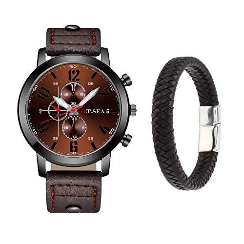 Souarts Herren Armbanduhr Jungen Retro Analoge Quarz Uhr mit Magnet Armband Männer Geschenk Set Herrenuhren mit Kleine Deko Zifferblatt (Kaffee)