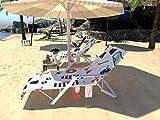 Toalla de playa para tumbona, tumbona de playa con 3 bolsillos, cojín reclinable antideslizante...