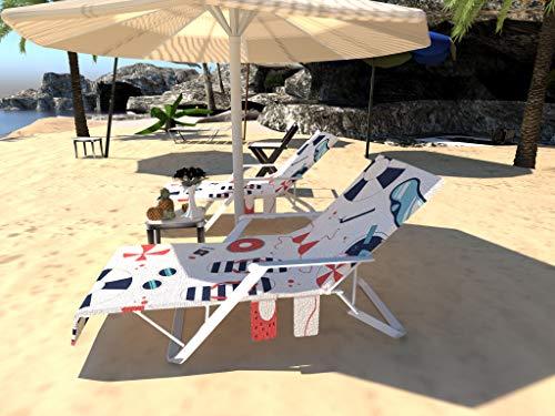 Telo da spiaggia per sdraio, lettino da spiaggia con 3 tasche, cuscino reclinabile antiscivolo (senza clip), abbastanza grande per coprire la sedia da spiaggia, – 212 x 75 cm Bianco blu navy arancione