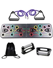 Coriver 13 in 1 Push Up Rack Board met Fitness Bands Draagtas,Opvouwbare Body Building Press Up Board & Resistance Bands,Spierbord Krachtbord voor Thuis Workout Training Oefening