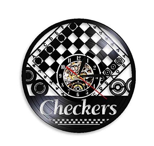 Vinilo Pared Reloj Reloj de Pared de Damas Hecho de Vinilo Real Tablero de ajedrez Juego de salón diseño Moderno Pegatinas de ajedrez Reloj Jugador de ajedrez Regalo-Hielo