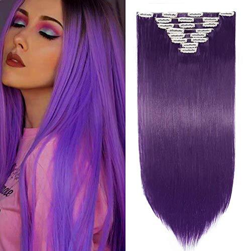 26 Pouces Extension A Clip Rajout Cheveux Synthétique 8 Pièces Extension A Clip Cheveux Pas Cher Lisse Raide Clip In Hair Extension Full Head - Bleu Violet