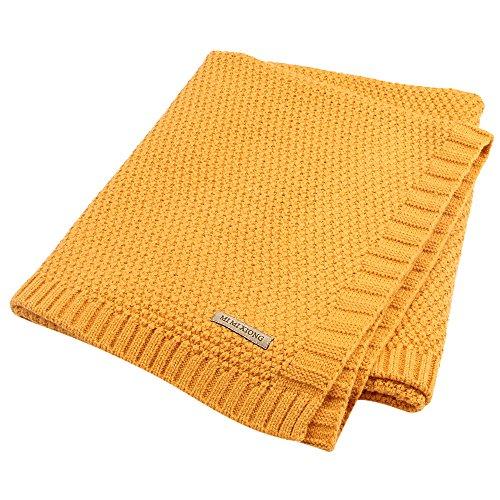 Per Organic Cotton Knitted Baby Decke Swaddle Empfangen Decken für Neugeborene Jungen Mädchen Kinder(Gelb)