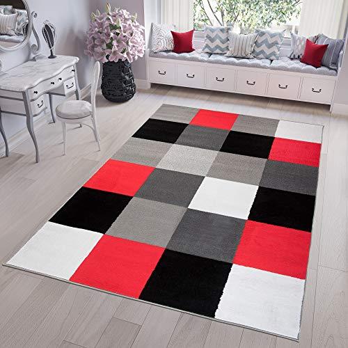 Tapiso Fire Alfombra de Salón Sala Diseño Moderno Rojo Gris Blanco Negro Geométrico Cuadros Pelo Corto 200 x 300 cm