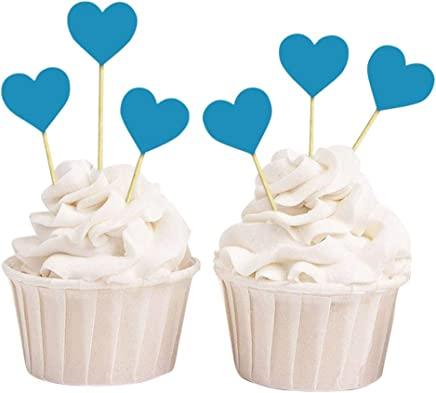 Darling Souvenir Baby Shower Heart Shapes Cupcake Toppers, Birthday Wedding Party Dessert Decorations - Pack of 40