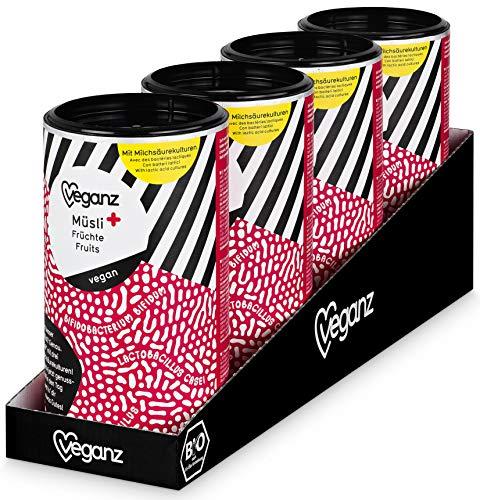 Veganz BIO Müsli+ Früchte mit Milchsäurebakterien und Inulin - Fitness Frühstück! Leckeres Vollkorn Haferflocken Müsli mit Früchten Beeren Crunch - Vegan 4 x 300g