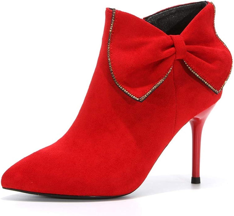 York York York Zhu -kvinnor kort stövlar, svart Pointed Toe High klackar Kvinnliga Modellerbytta  klassisk stil