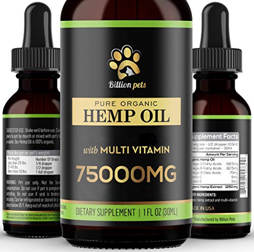 Billion Pets - Hemp Oil for Dogs and Cats - Hemp Oil Drops with Omega Fatty Acids - Hip and Joint Support and Skin Health