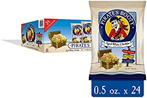 Pirate's Booty Cheese Puffs, Healthy Kids Snacks, Aged White Cheddar, 0.5z (Pack of 24)