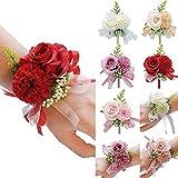 Pulsera decorativa de mano con diseño de flores y rosas de seda para novia, ramillete de novia, pulsera de dama de honor, clip de banda de cortina (color: 6)