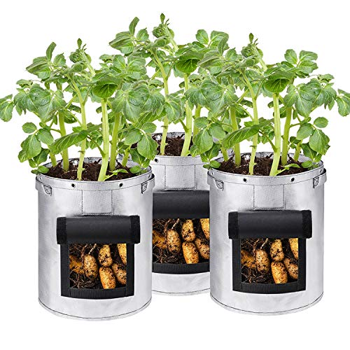 Werkzeug Grow Bags for Vegetables, Non-woven Potato and Tomato Planting Bags, Waterproof, Open-door Gardening and Cultivation Beauty Planting Bags (26 Liters/7 Gallons, 43 Liters/10 Gallons) Silver Ha
