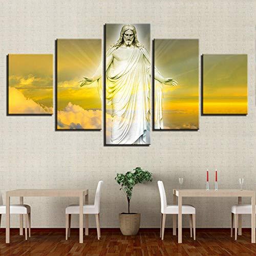 Cuadrojesús Resucita del Cielo De Las Nubesxxl Impresiones En Lienzo 5 Piezas Cuadro Moderno En Lienzo Decoración para El Arte De La Pared del Hogar 150×80 Cm HD Mural (Sin Marco)