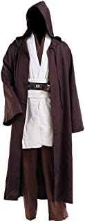Jedi Robe Cosplay Costume Set Men Halloween Outfit Brown White with Belt and Pocket Full Suit - US Size