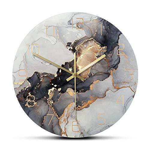 dingtian Wanduhr Abstrakte Moderne Kunst Marmor Textur Silent Quarz Aquarell Malerei Home Decor No-Frame