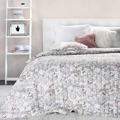 Eurofirany Tagesdecke Bettüberwurf Decke Beige Schmetterling Flies Karomuster Steppdecke 200x220 170 x 210 cm (200 x 220 cm)
