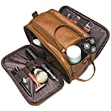 Toiletry Bag for Mens Large Dopp Kit Double zipper Travel Shaving Bag Synthetic Leather Cosmetic Bag Toiletries Accessories Organizer for Suitcase (Brown)