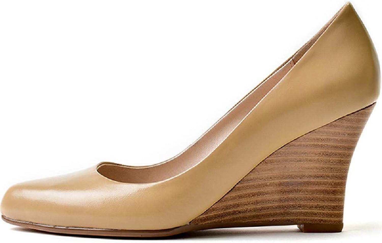 W Leder High Heel Damenschuhe Keilabsatz Schuhe Single Layer Layer Rindsleder Fashion Sandalen  erstklassiger Service