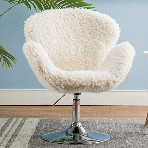 Kmax Faux Fur Vanity Accent Lounge Chair, Plush Shell Chair, Shaggy Fur Accent Faux Sheepskin Chair for Girls, White