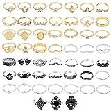 ZZ ZINFANDEL 52 Pcs Boho Gold&Silver Ring Set Star Moon Knuckle Rings for Women Teen Girls Retro Multiple Rings Bulk Pack Stackable Midi Finger Rings Set Size 4-10