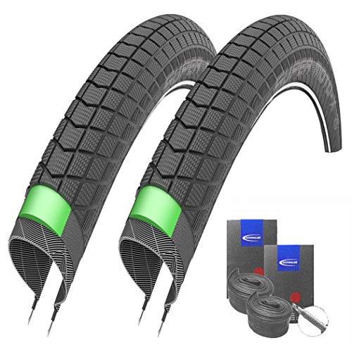 Set: 2 x Schwalbe Super Moto-X Reflex MTB Pannenschutz Reifen 26x2.40 + Schwalbe SCHLÄUCHE Rennradventil