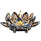 FJROnline - Portacandele in cristallo con fiore di loto in vetro, portacandele buddista con confezione regalo, colore: Blu