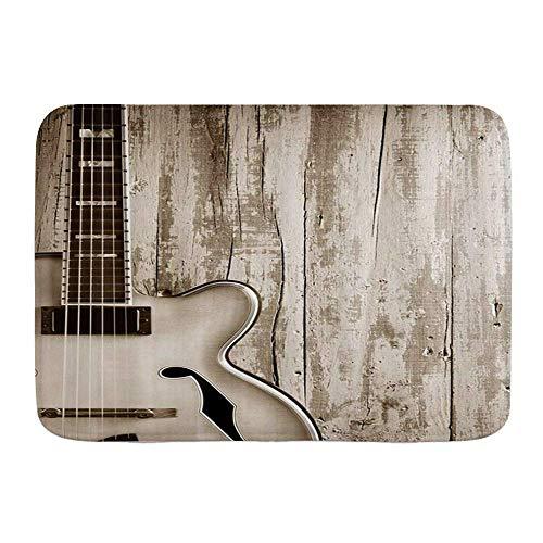 N\A Alfombra de Microfibra para baño, Equipo Musical de Guitarra sobre Tablas de Madera rústicas, Arte Hippie 3D, alfombras de baño, Alfombra Antideslizante
