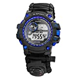 Lixada Survival Bracelet Watch 6 in 1 Waterproof Emergency Digital Watch with Paracord/Whistle/Fire Starter/Scraper/Compass and Thermometer