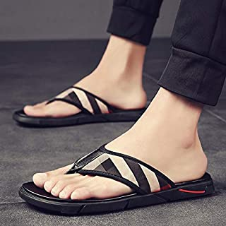 New Design Men's Thick Bottom Flip-flops Comfortable Household Slippers Striped Outdoor Wading Slippers Soft Slippers (Color : Lattice 610, Shoe Size : 41)