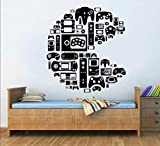 Gamer Wall Decal Bedroom Controller Video Games Gamer Pac Man Wall Decal Boys Teenager Room 100 cm Wide