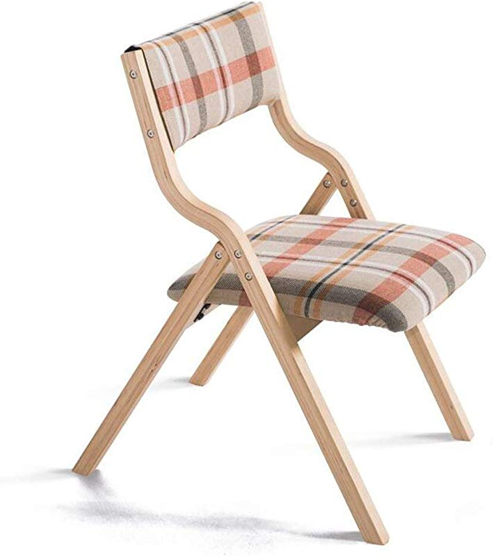 Carl Artbay Wooden Footstool Beige Red Lattice Cushion Wooden Shelf Solid Wood Folding Chair Home Cloth Chair Desk And Chair Armchair Computer Chair Home