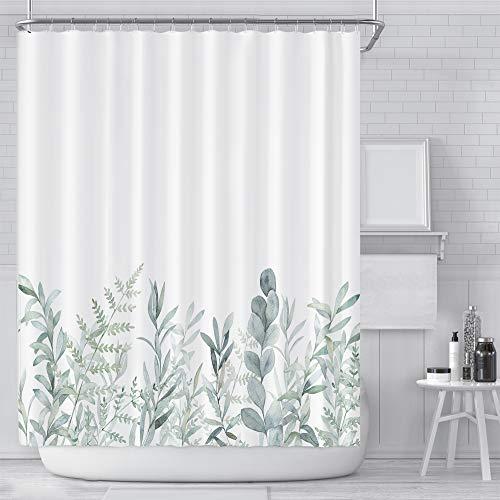 Aitsite Duschvorhang, Wasserdicht Bad Vorhang aus Polyestergewebe mit 12 Haken, Duschvorhänge Waschbar Anti-Schimmel 180 x 180 cm-Blätter