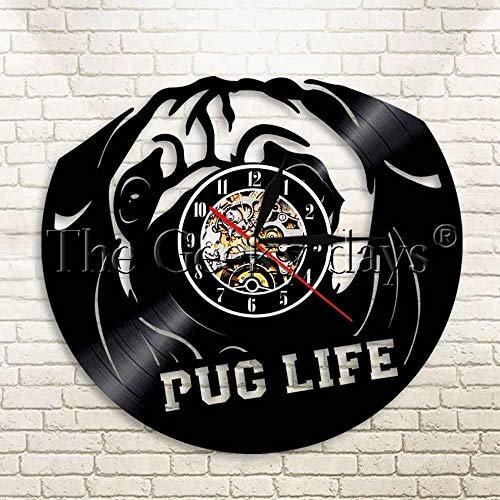 UIOLK Pet Cachorro CD Reloj de Tiempo Retro Perro Mascota Lindo Disco de Vinilo Retro Reloj de Pared Animal Creativo
