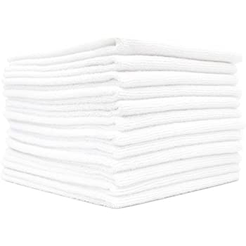 The Rag Company (12-Pack) 14 in. x 14 in. Commercial Grade All-Purpose Microfiber Highly Absorbent, LINT-Free, Streak-Free Cleaning Towels (White)