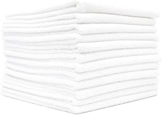 (12-Pack) 16 in. x 16 in. Commercial Grade All-Purpose Microfiber Highly Absorbent, LINT-Free, Streak-Free Cleaning Towels - THE RAG COMPANY (White)