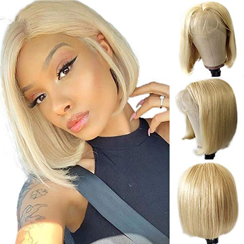 Jessica Hair #613 Blonde Wigs Short Bob Lace Front Wigs Human Hair Wigs For Black Women Silky Straight Lace Wigs Pre-Plucked Hairline Full Ends With Baby Hair(14 Inch)