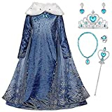 Kosplay Ragazze Elsa Vestito Principessa Costume da Maniche Lunghe Colletto Blu e Bianco Regina delle Nevi Abito da Festa Natale Compleanno Cosplay Party Dress Up 2-14 Anni